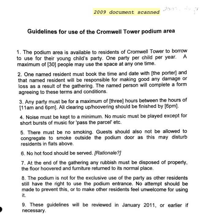 Cromwell Tower Podium Room Guidelines